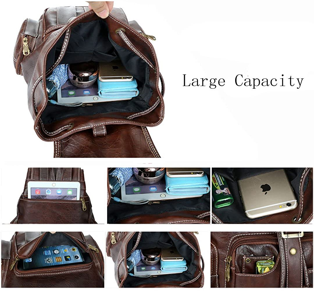 Womens New Fashion Backpack Vintage Style Waterproof Leather Backpack Purse for Girls