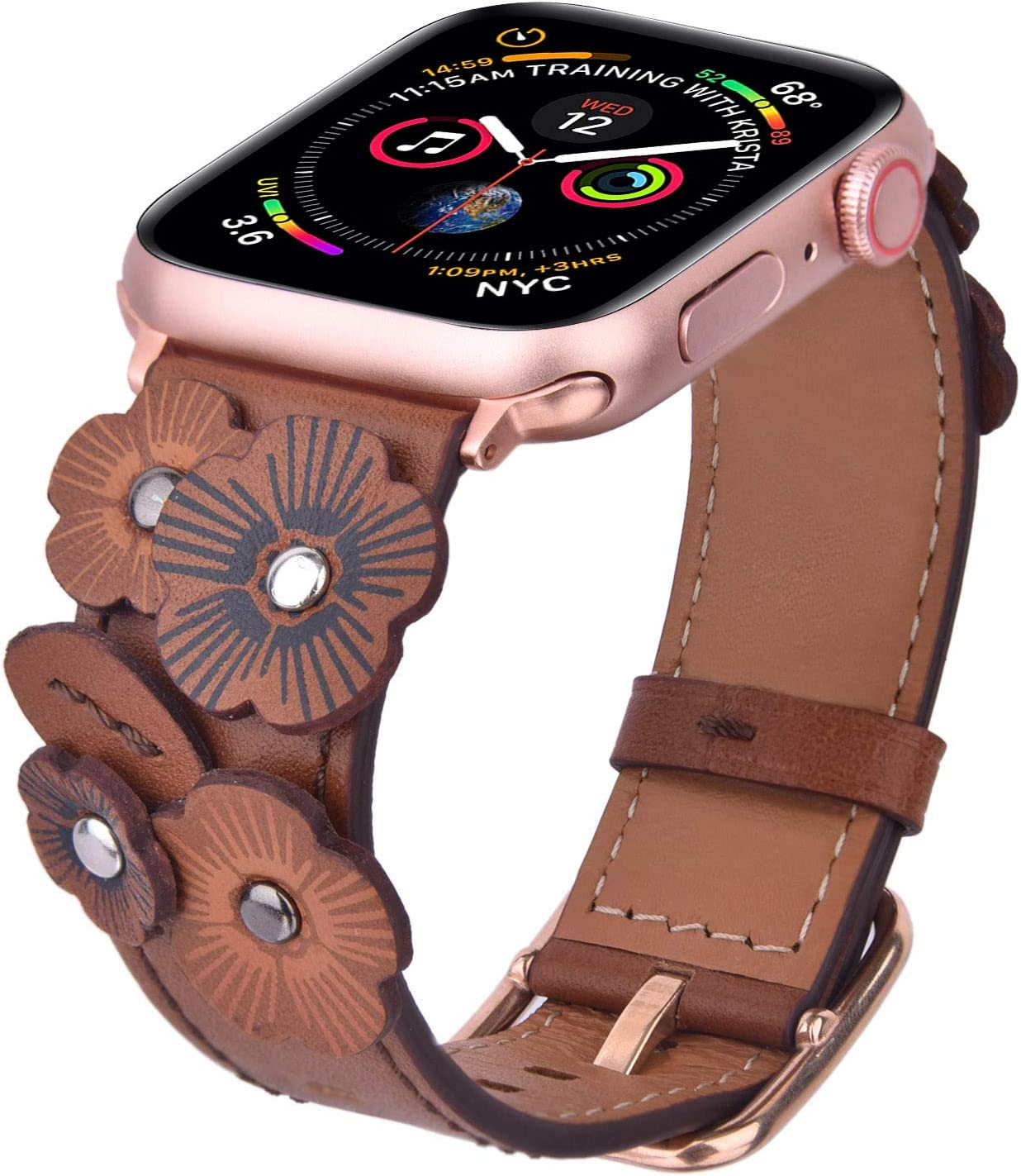V-MORO Flowers Leather Bands Compatible with Apple Watch Bands 38mm 40mm Series 5/4/3/2 with Stainless Steel Buckle Rose Gold Replacement Strap Wristbands Women (Vintage Brown-38mm)