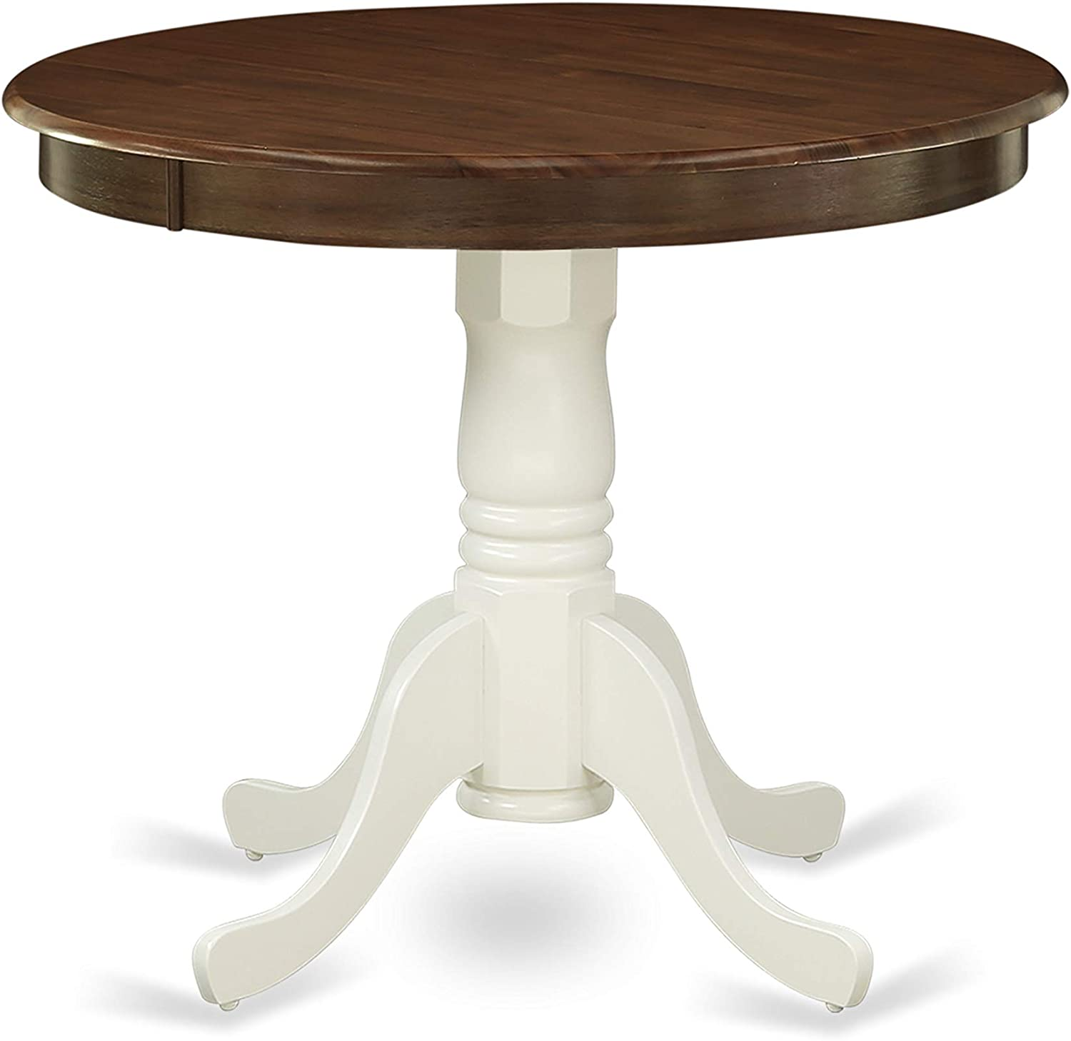 AMT-WLW-TP Antique Dining Table Made of Rubber Wood offering Walnut Finish Table Top, 36 Inch Round, Linen White Pedestal