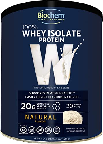 Biochem 100 Whey Isolate Protein – Natural Flavor – 24.6 oz – Pre Post Workout – Meal Replacement – Keto-Friendly – 20g of Protein – Easily Digestible – Refreshing Taste – Easy to Mix