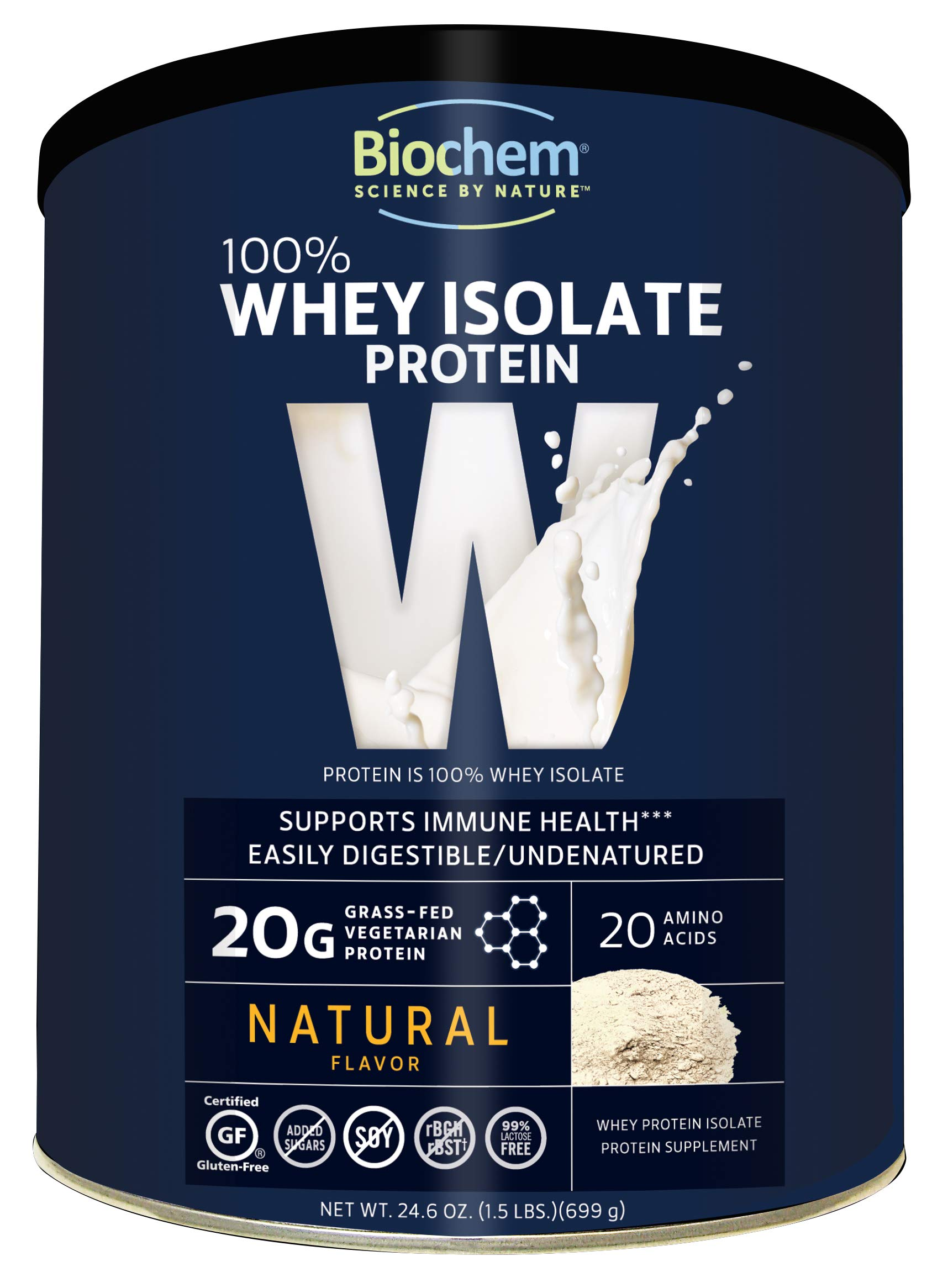 Biochem 100% Whey Isolate Protein - Natural Flavor - 24.6 Ounce - 20g Vegetarian Protein - May Help Support Immune Health - Keto Friendly & Easily Digestible - Refreshing Taste by Biochem