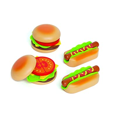 Hape Hamburger and Hot Dogs Wooden Play Kitchen Food Set with Accessories: Toys & Games