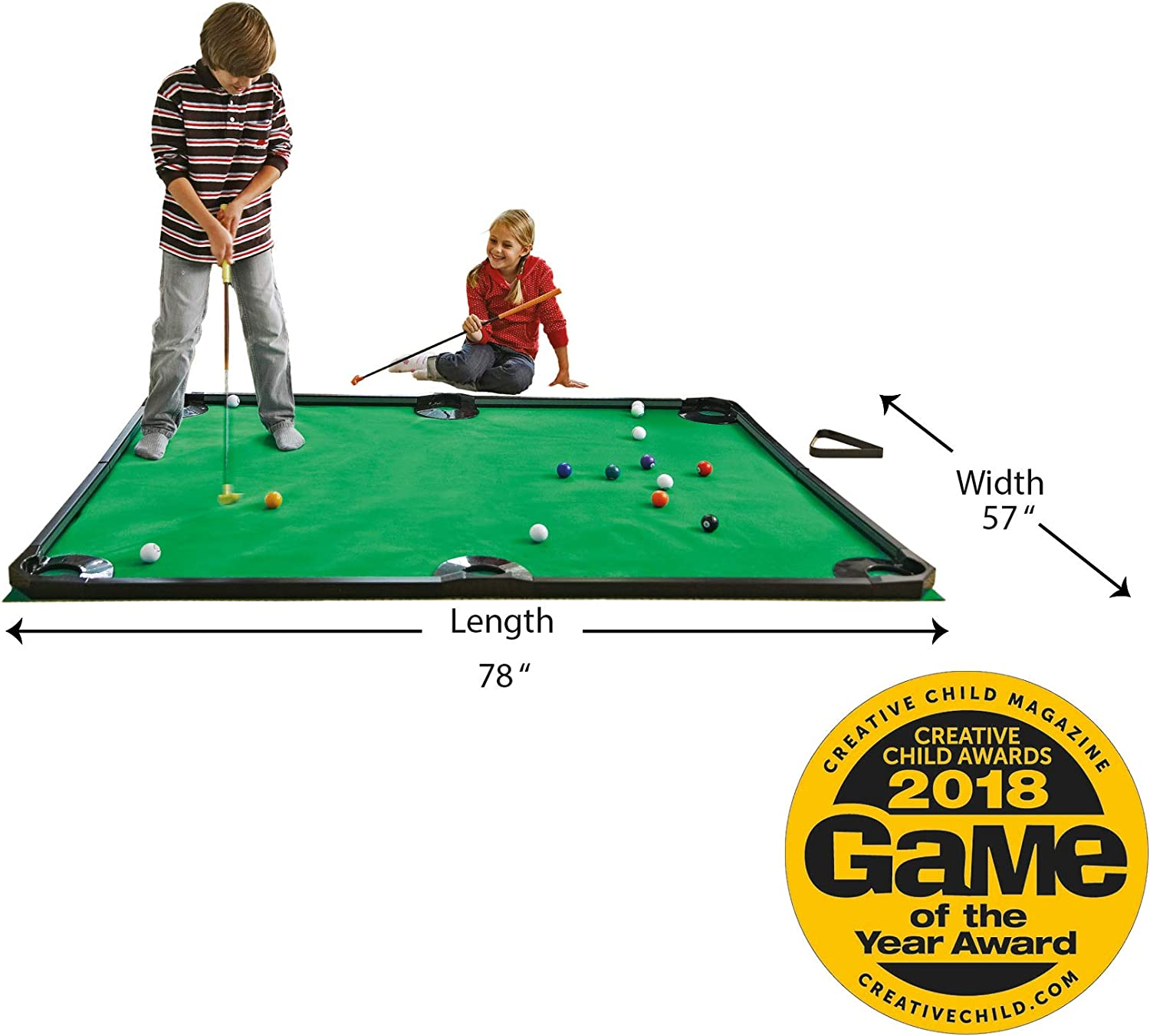 "HearthSong Golf Pool Indoor Family Game Kids Toy Carbon Fiber 78""Lx57""W Includes Golf Clubs, 16 Balls, Green Mat, Rails"