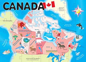 Map Of Canada Kids.Ingenio Canada Map Floor Puzzle Smart Play Amazon Ca Toys Games