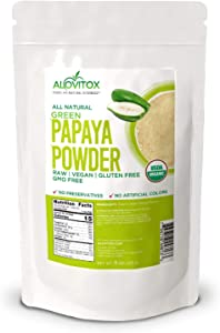 Alovitox Organic Green Papaya Powder 8 Oz Promotes Skin Health and Improves Digestive System Gluten-Free Certified Non-GMO and Vegan Friendly