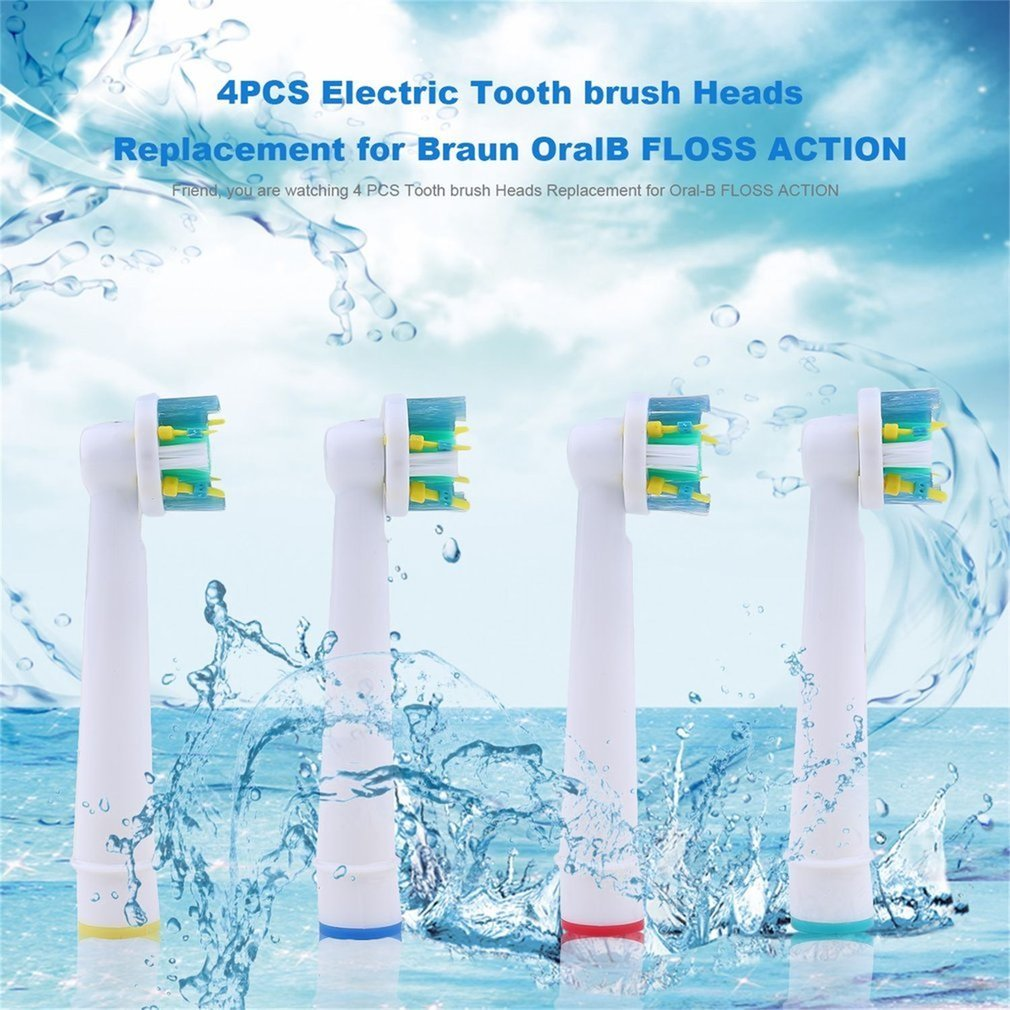 4PCS Electric Tooth Brush Heads Replacement for Braun OralB Floss Action BBV-ST