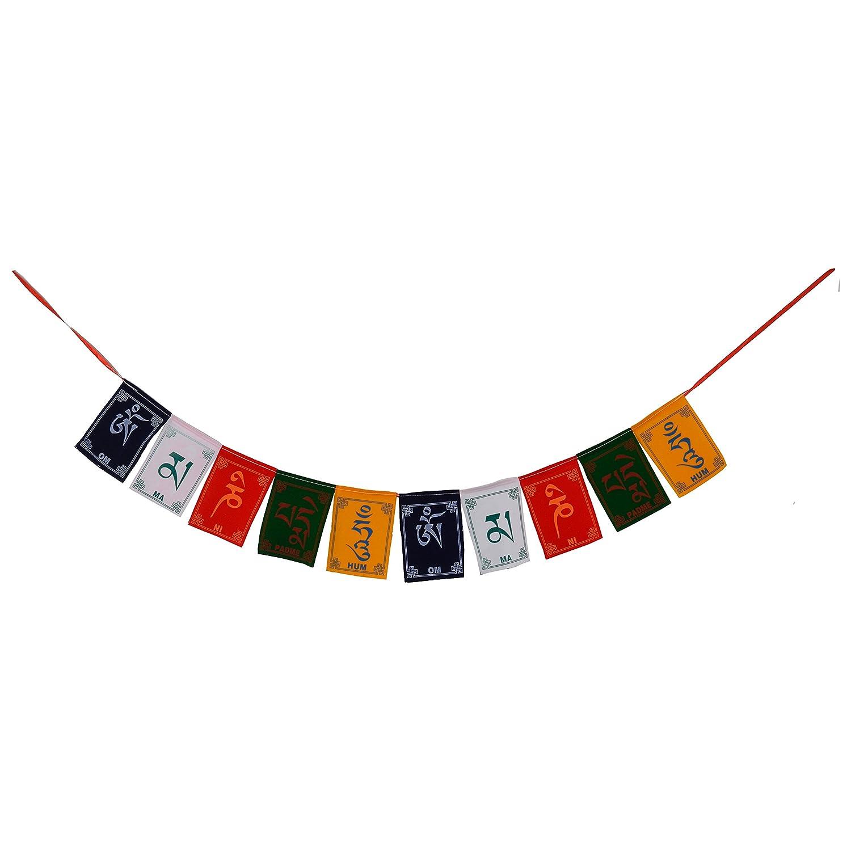 Bermoni Buddista tibetana Fluttering Bandierine di Preghiera con Om MA Ni Padme Hum Mantra FH-FLAG-100(S1)