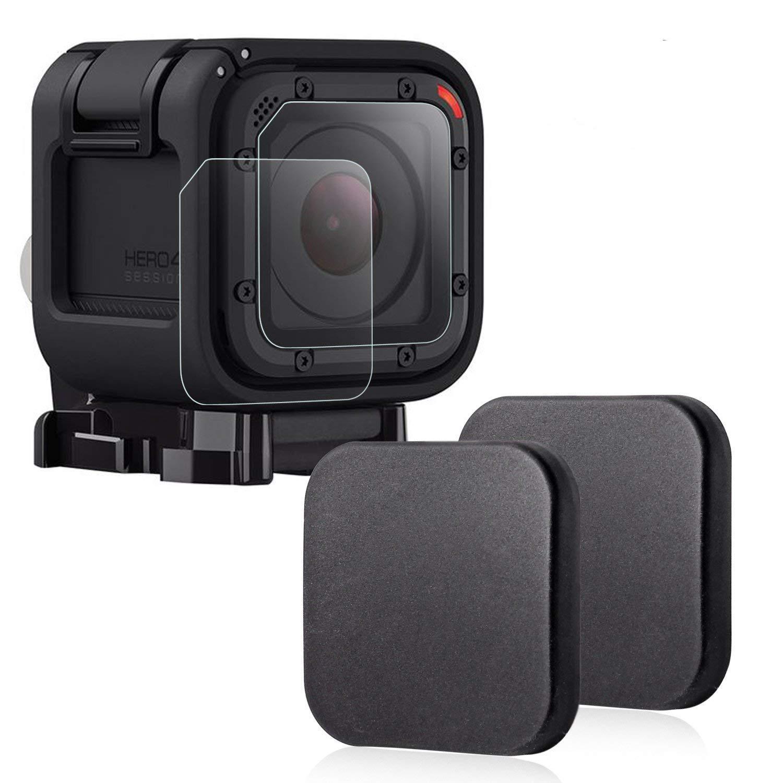 Protector de lente para GoPro Hero 4 Session 5 Session,Hapurs Cubierta de la lente de la cámara (2 piezas) y Protector de cristal de la lente (2 ...