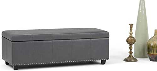 Simpli Home Kingsley 48 inch Wide Transitional Rectangle Lift Top Storage Ottoman