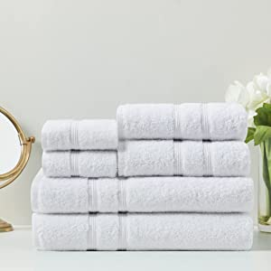 Degrees of Comfort Turkish Bath Towels for Bathroom | Luxury Towel Set for Home Decor | 100% Cotton | Hotel Quality, Soft and Plush - White, 6 Piece Set (2 Bath Towels, 2 Hand Towels, 2 Washcloths)