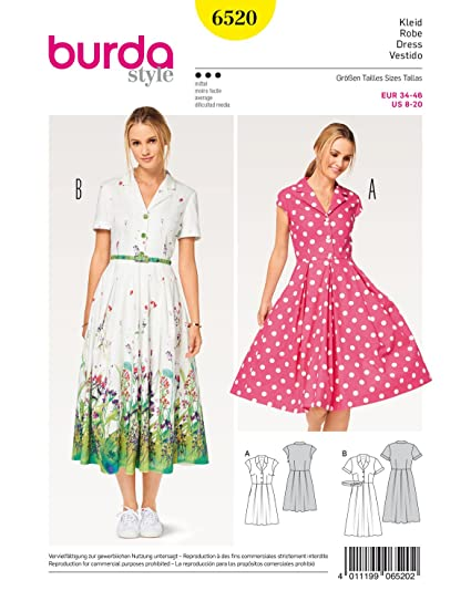 d4ff25b31d8c Image Unavailable. Image not available for. Colour: BURDA SEWING PATTERN  MISSES' SHIRT BLOUSE DRESS SIZE 8 ...