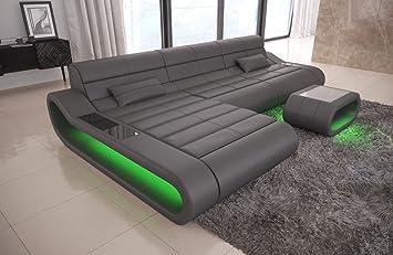 Divano concept pelle a forma di l lungo grigio divano angolare