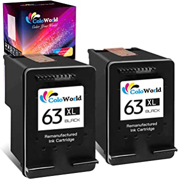 ColoWorld Remanufactured Ink Cartridge Replacement for HP 63XL 63 XL (2 Black) Used for Envy 4520 3634 OfficeJet 3830 5252 4650 5258 4655 4652 5255 DeskJet 3636 1111 3630 1112 3637 3632 Printer