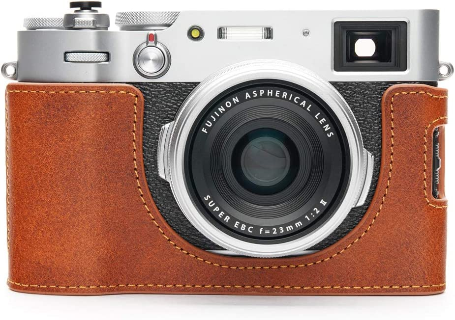 Fujifilm X100V Camera Case, BolinUS Handmade Genuine Real Leather Half Camera Case Bag Cover for Fujifilm Fuji X100V Camera Bottom Opening Version + Hand Strap (LavaBrown)