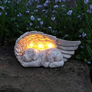 LEWIS&WAYNE Dog Pet Memorial Stones Gifts, Pet Loss Sympathy Remembrance Gifts with Solar Light Grave Markers Dog Statue Garden Decor Outdoor