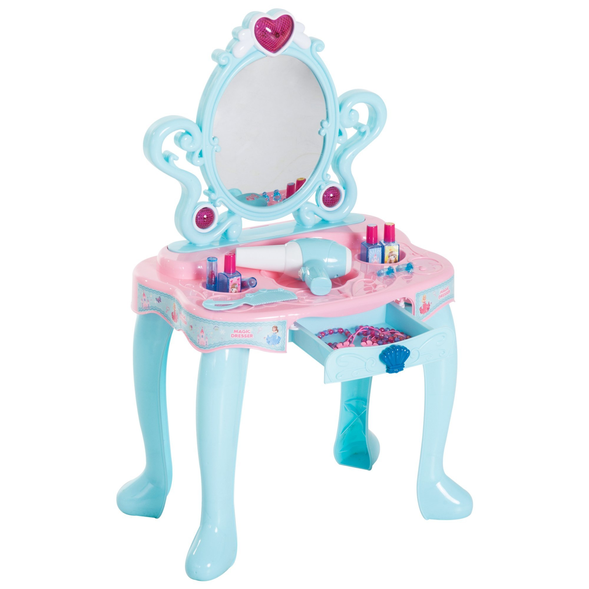 Qaba Kids Fashion Pretend Play Set Princess Vanity Table with Lights, Sounds, and Accessories - Light Blue / Pink by Qaba