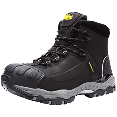 LARNMERN Men's Safety Work Boots, Waterproof and Heat Resistant Steel Toe Construction Industrial Footwear(12 Black) | Industrial & Construction Boots