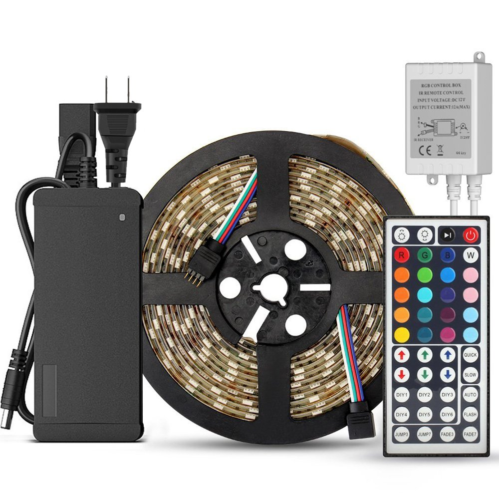 SUPERNIGHT 5-Meter Waterproof Flexible Color Changing RGB SMD5050 300 LEDs Light Strip Kit with 44 Key Remote and 12V 5A Power Supply by SUPERNIGHT
