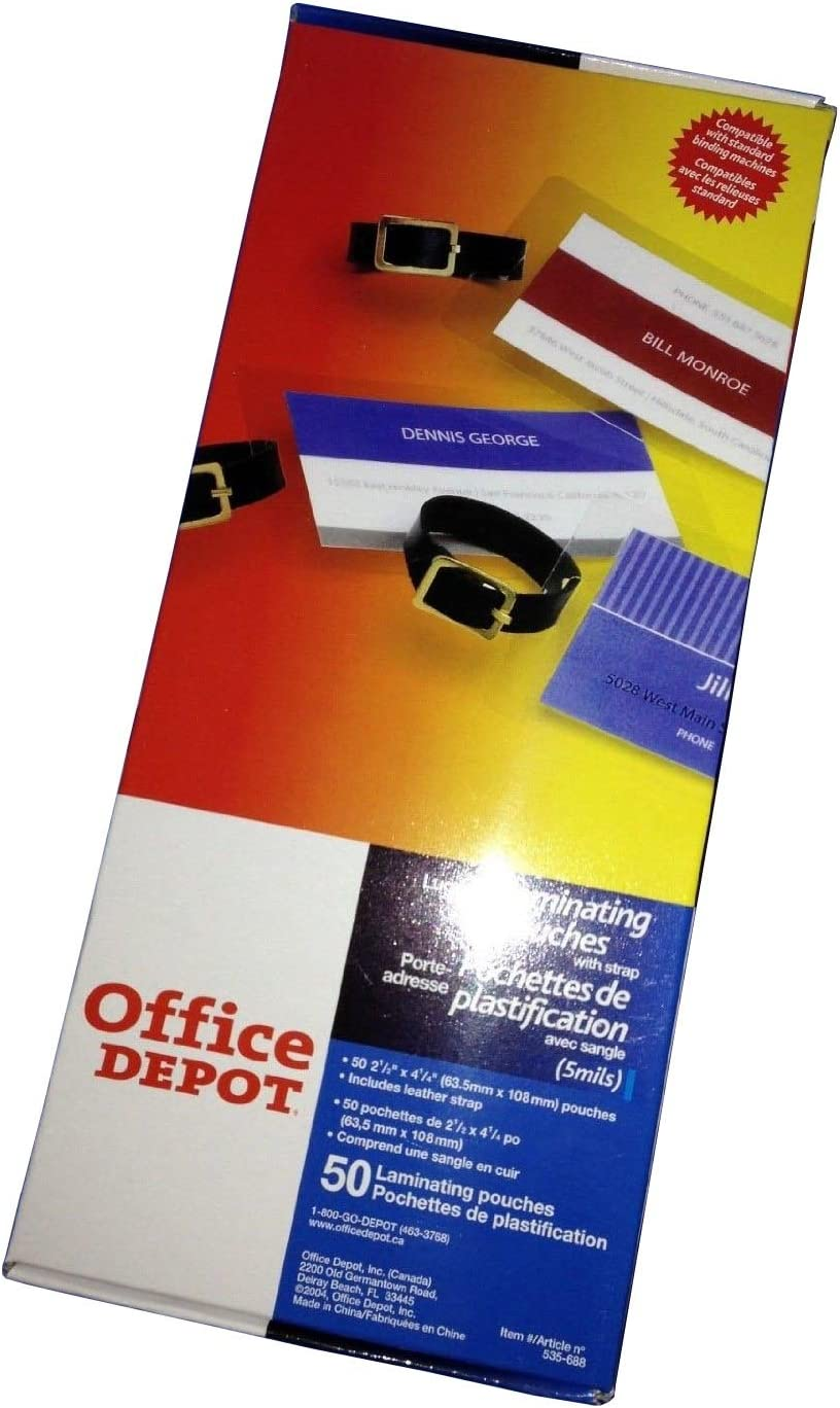 Office Depot ID Card/Luggage Tag Hot Laminating Pouches Slotted with Strap 50pcs
