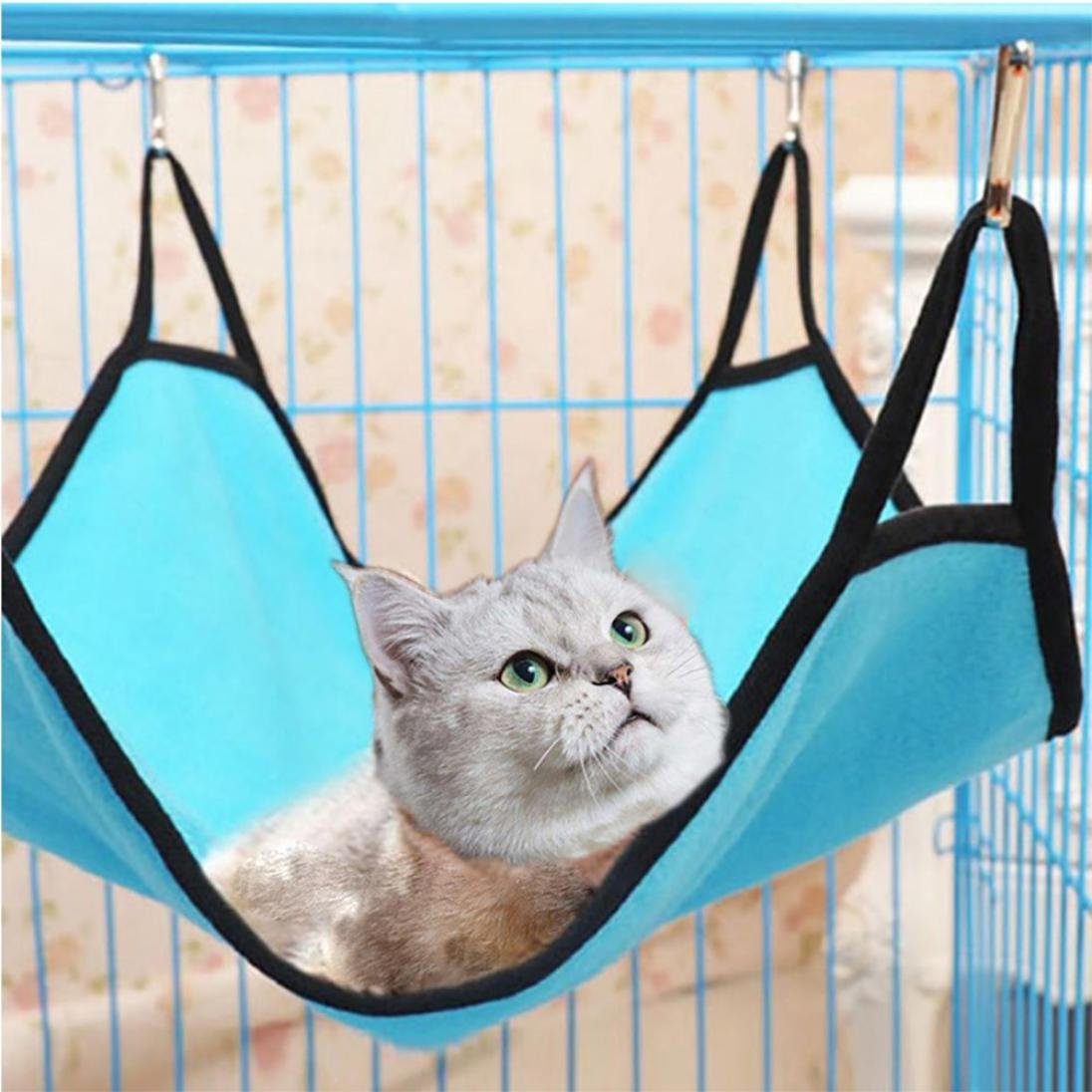 Iusun Cat Hammocks, Pet Hammock, Cute Pet Cat Kitten Animal Hammock Sleep Bed Bunk Sleep Pad Hanging Pet Cage (Blue)