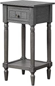 Convenience Concepts French Country Khloe Accent Table, Dark Gray Wirebrush