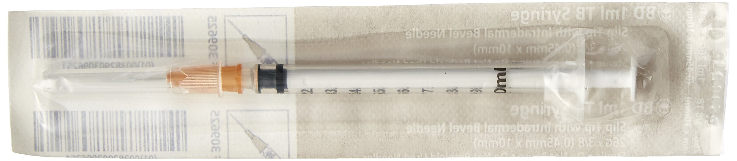 BD Medical Systems 309625 Tuberculin Syringe, Detachable Needle, Slip Tip, Intradermal Bevel, 26 Gauge x 3/8'' Size, 1 mL Capacity (Box of 100)