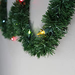 Brite Star 12-Feet Direct Plug in Lighted Pine Garland with 35 Count Multi-Colored Mini Lights