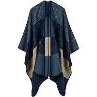 Hiwil Women's Wide Stripes Cashmere Blanket Ponchos Color Block Faux Pashmina Shawls Capes Scarf Cardigans Navy Blue One Size
