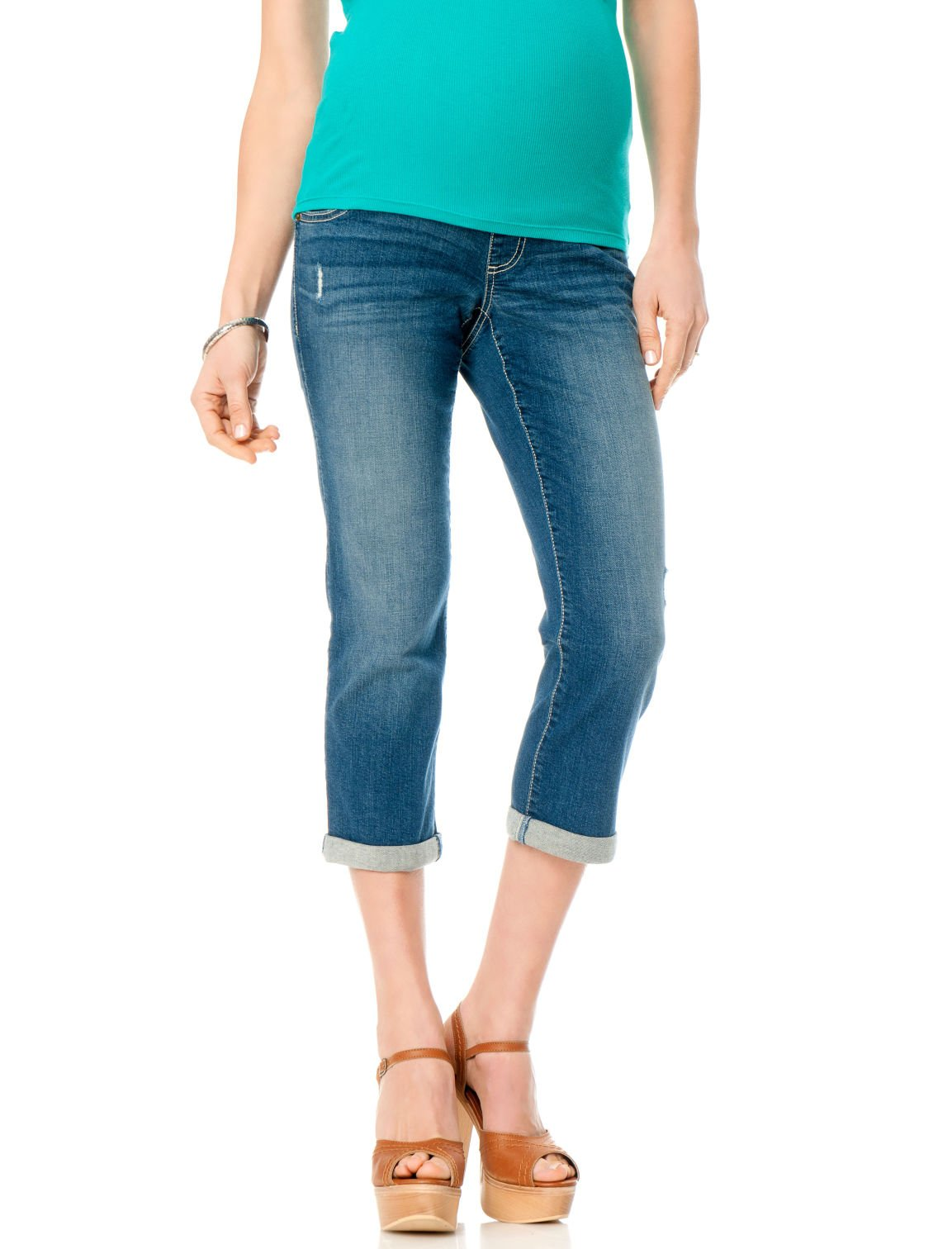Motherhood Indigo Blue Secret Fit Belly Rolled Maternity Crop Jeans