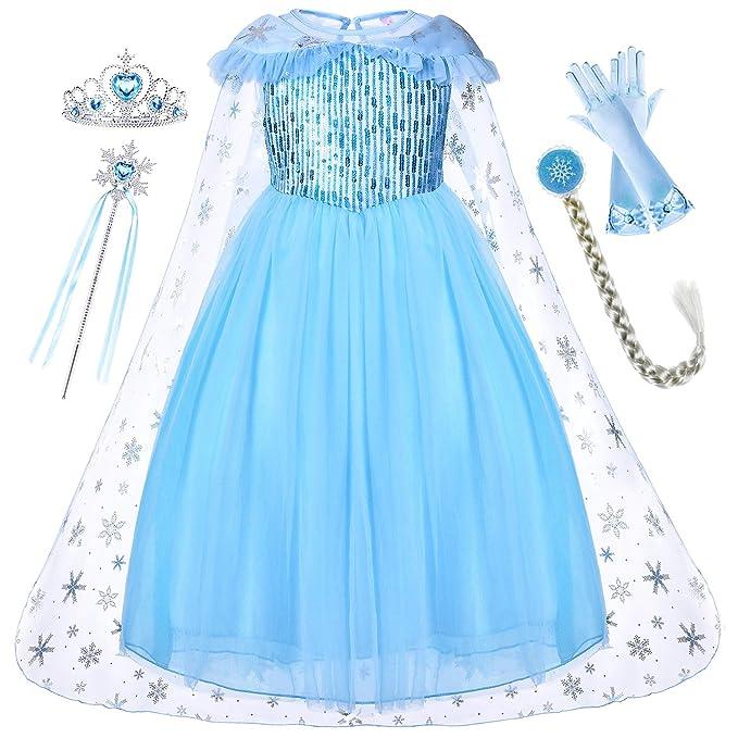 Amazon.com: Princesa Elsa vestido con abrigo Tiara varita ...