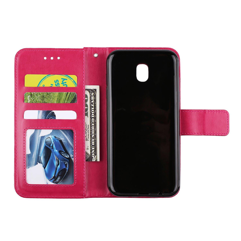 Cover Samsung Galaxy J3 2017 // J330 - HOHA24121 Oro Rosa 2017 Lomogo Custodia Staccabile Portafoglio in Pelle Porta Carta di Credito con Chiusura Magnetica per Samsung Galaxy J3