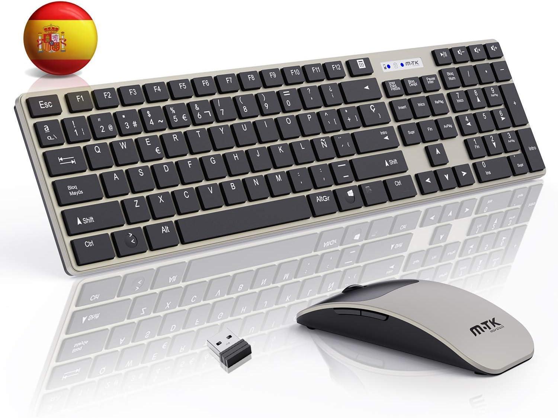 M-T-K Packs de teclado y ratón,Teclado y Raton Inalambrico ,2.4Ghz Delgados Portátil Teclado Inalambrico,104 Teclas,tamaño Completo,12 Teclas Multimedia,Inalámbrico para PC/Laptop(Español QWERTY)