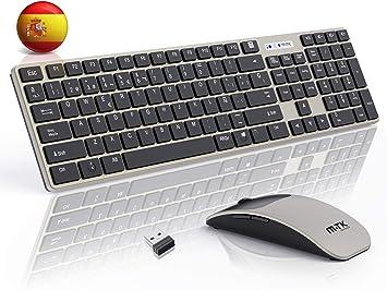 M-T-K Packs de teclado y ratón,Teclado y Raton Inalambrico ,2.4Ghz Delgados Portátil Teclado Inalambrico,104 Teclas,tamaño Completo,12 Teclas Multimedia,Inalámbrico para PC/Laptop(Español QWERTY): Amazon.es: Electrónica