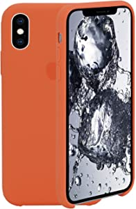 Compatible with iPhone X iPhone Xs Silicone Case 5.8 inch, Liquid Silicone Case Protection Shockproof Protection Anti-Scratch Silicone Phone Case for iPhone Xs and iPhone X, Apricot Orange