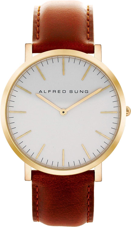 Alfred Sung Watch, Ultra Slim Mens, 41mm Rose Gold Case