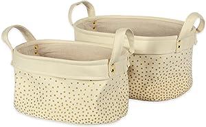 DII Canvas Laundry Basket, Asst Bins Set of 2, Gold Confetti 2 Piece