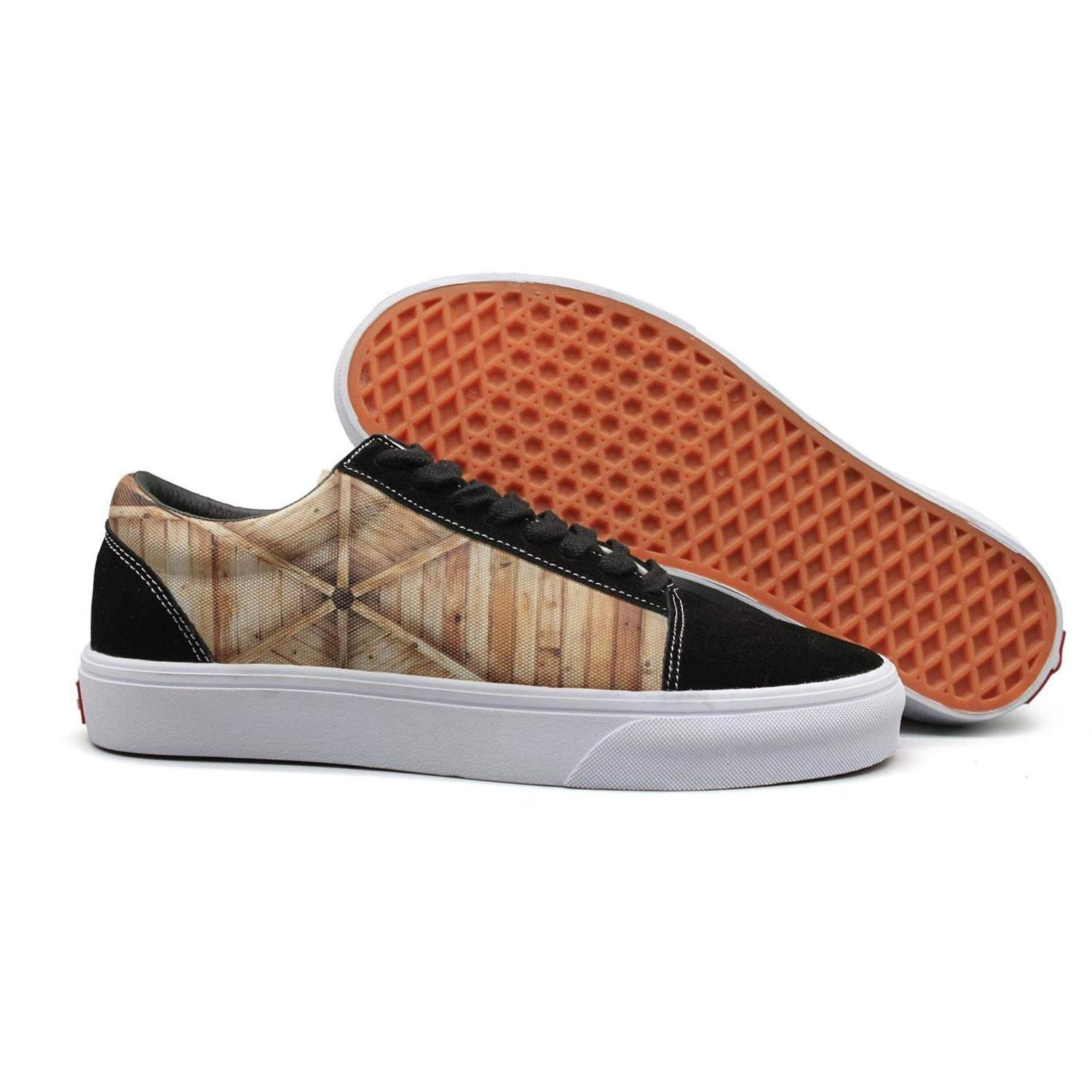 Wonderland Lovers Rustic Wooden barn Farmhouse Rural Unisex Canvas Sneakers Low Top Loafers for Casual Activities