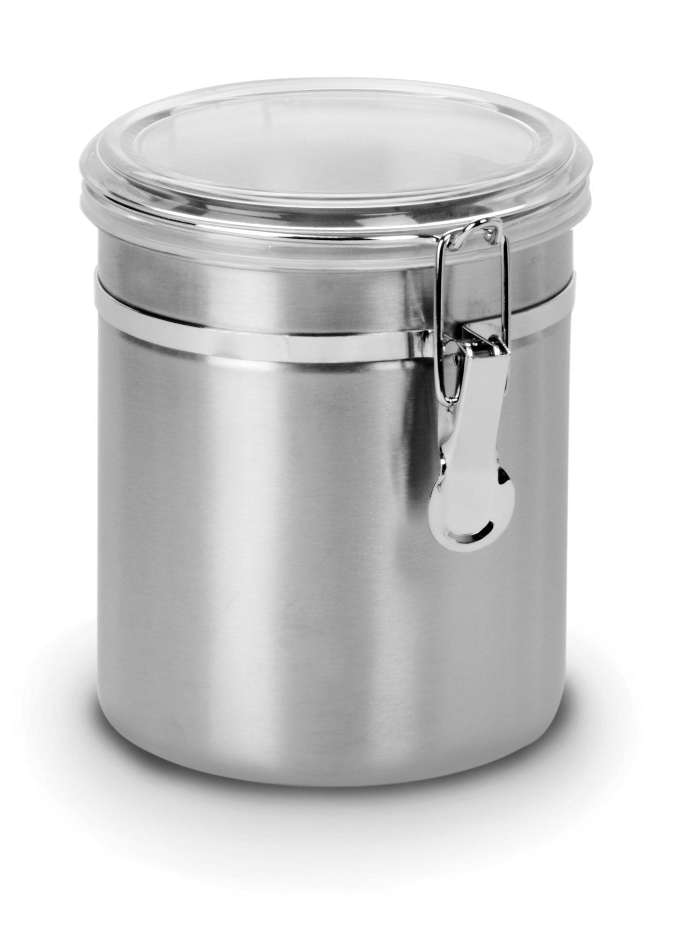 Anchor Hocking Round Stainless Steel Canister with Clear Acrylic Lid and Locking Clamp, 47 oz (Set of 4)