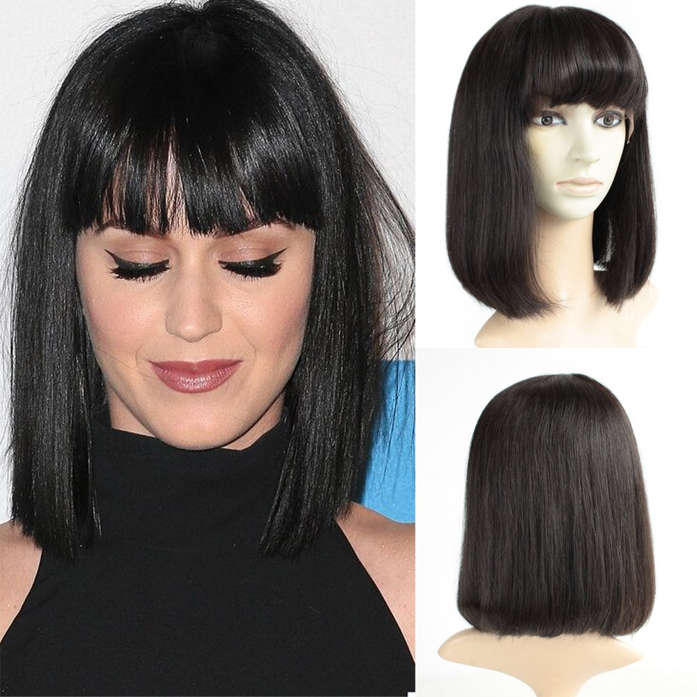 Brazilian Short Lace Front Wigs Human Hair Bob Wigs for Black Women Natural Color Silky Straight Hair Wigs with Bangs TopFeeling
