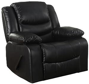 DIVANO ROMA FURNITURE CAM008 Recliner Chair Black