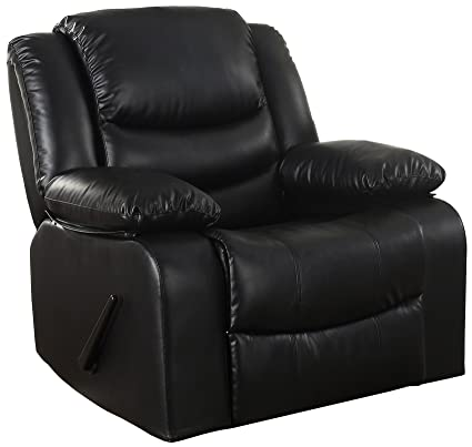 Amazon.com: Bonded Leather Rocker Recliner Living Room Chair, Black ...