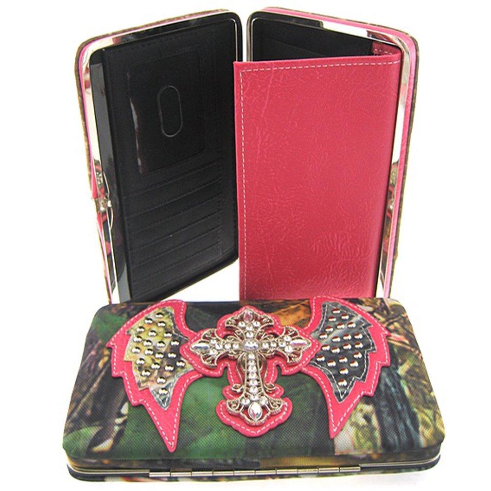 Rhinestone Cross Angel Wings Camouflage Pink Trim Camo Clutch Purse Wallet (Pink Wallet)