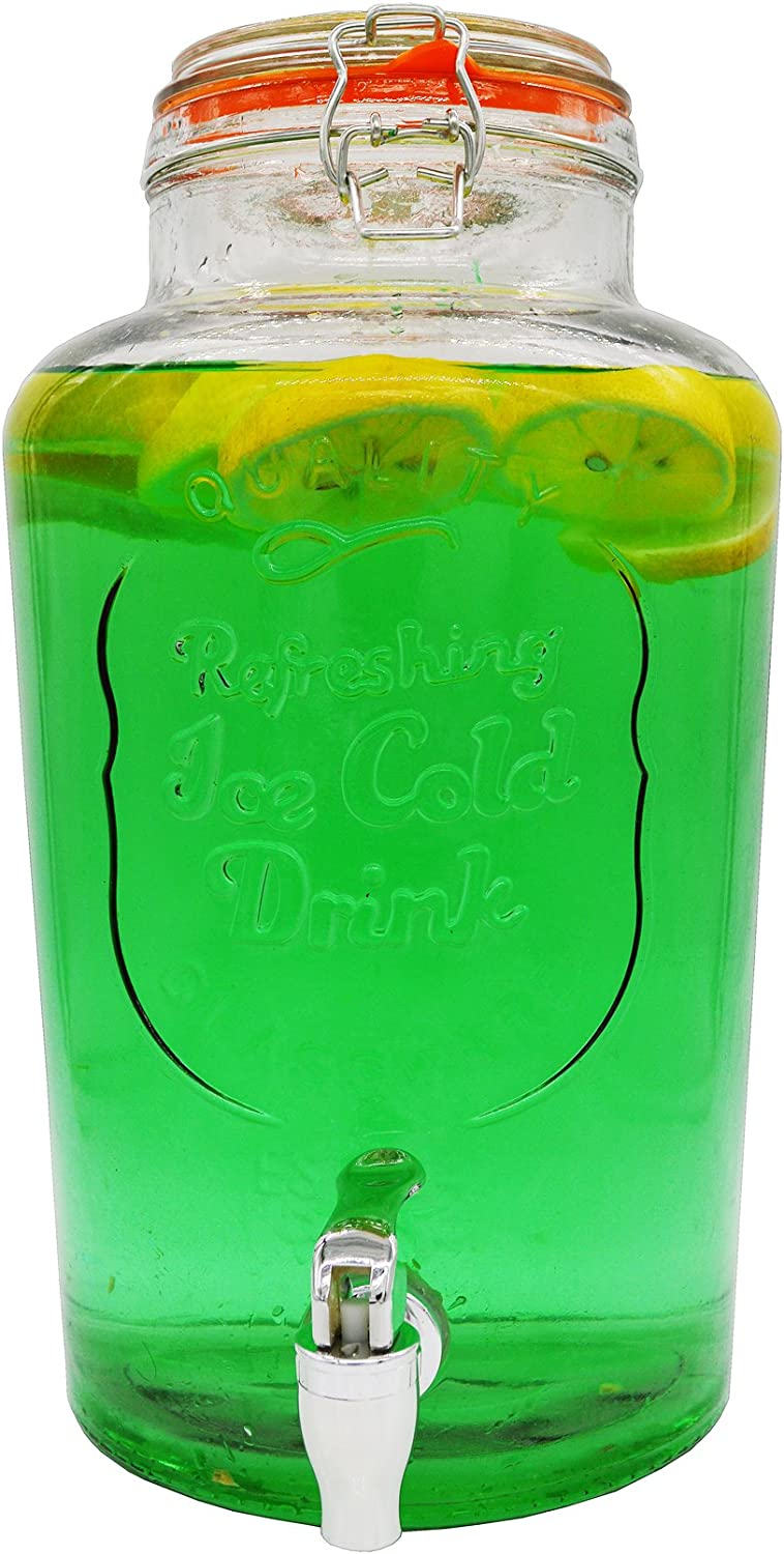 Palais Glassware Clear Glass Beverage Dispenser with Bail & Trigger Locking Lid - 2 Gallon ('Ice Cold Drink' Embossed)