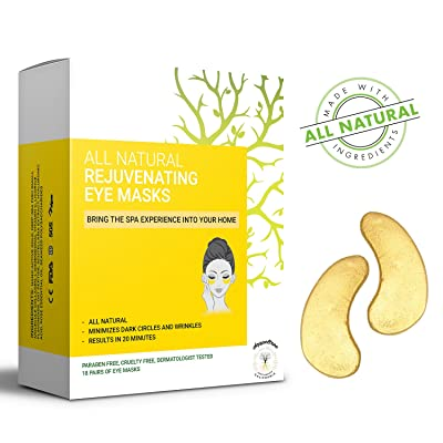 (18 pairs) All Natural Under Eye Bags Treatment Patches and Mask for Dark Circles, Puffy Eyes, and Wrinkles | 24K Gold with Anti-Aging Collagen, Hyaluronic Acid, Hydrogel