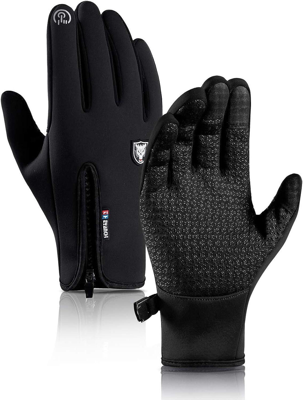 HONYAR Men Women Winter Gloves - High-Density Carbon Fiber Windproof Waterproof Glove, Touch Screen Fingers, Anti-Slip Grip, Lightweight Snug-Fit, Warm Lining for Training Driving Cycling Running Work