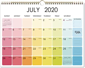 "2020-2021 Calendar - 18 Monthly Wall Calendar 2020-2021 with Thick Paper, 15"" x 11.5"", Jul 2020 - Dec 2021, Two-Wire Binding, Blank Blocks with Julian Dates, Hanging Loop, Perfect for Organizing"