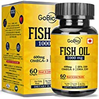 GoBio Omega-3 Fish Oil 1000mg Double Strength 330mg EPA 220mg DHA - 60 Softgels