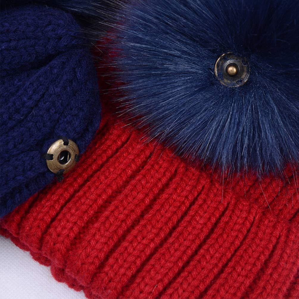 LAUSONS Berretti invernali ragazza cappello doppio pon pon di pelliccia rimovibile