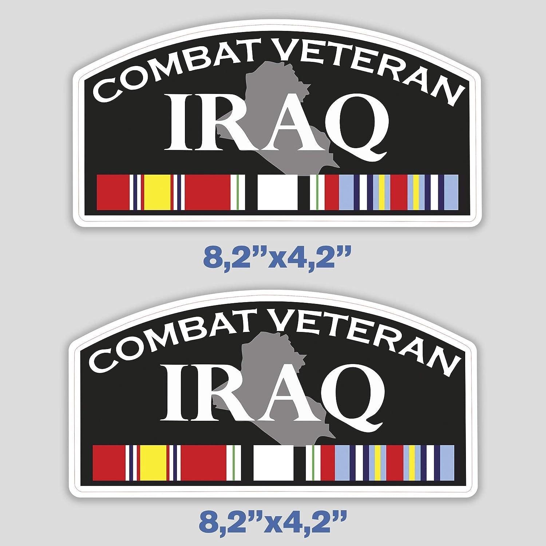 x2 Veteran Iraq Sticker Combat War Decal for Car Bumper Truck Window Laptop US Army 8 in
