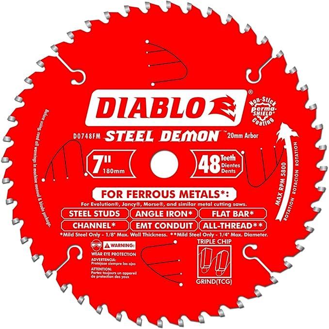 "Amazon.com: FREUD D0748FM 48-Tooth20mm Arbor Steel Demon Ferrous Metal Cutting Saw Blade, 7"": Home Improvement"